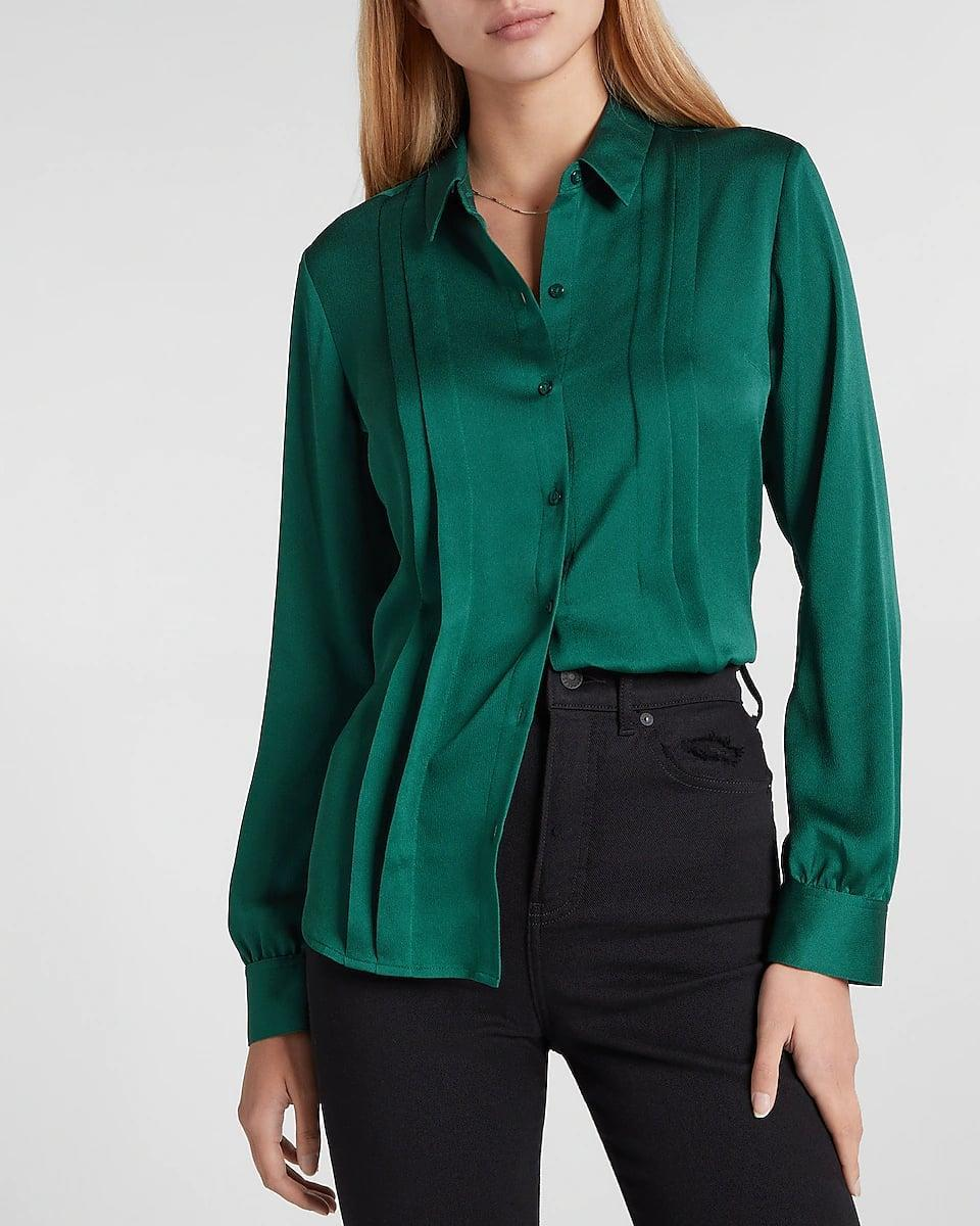 <p>This <span>Express Satin Pleated Shirt</span> ($60) is such a stunner, we'd recommend keeping the rest of your look simple so as to keep the emphasis on it. A black slip skirt will be sure to enhance the look without taking away the focus. Finish it off with some strappy heels or low-heeled mules for a day-to-night event.</p>