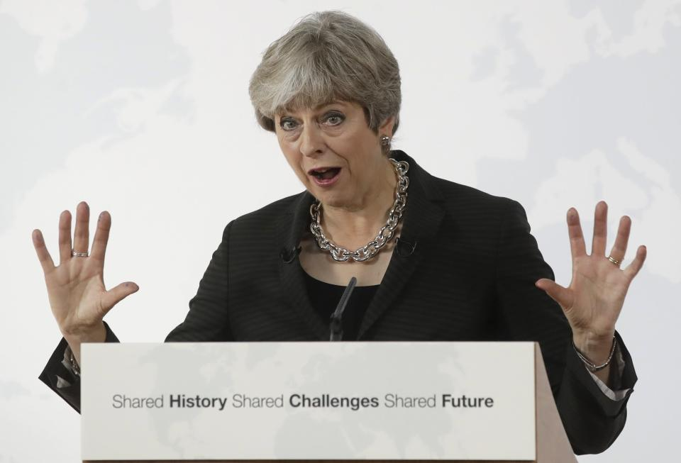 Prime Minister Theresa May attempted to unblock the Brexit talks with a speech proposing a two-yer transition period after the Uk leaves the EU in 2019 (AP Photo/Alessandra Tarantino)