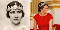 """<p><a href=""""https://www.townandcountrymag.com/style/fashion-trends/a4028/duchess-of-cambridge-china-state-dinner/"""" rel=""""nofollow noopener"""" target=""""_blank"""" data-ylk=""""slk:The Duchess of Cambridge has also been seen wearing"""" class=""""link rapid-noclick-resp"""">The Duchess of Cambridge has also been seen wearing</a> this <a href=""""http://people.com/royals/lotus-flower-tiara-on-kate-middleton-and-princess-margaret/"""" rel=""""nofollow noopener"""" target=""""_blank"""" data-ylk=""""slk:tiara"""" class=""""link rapid-noclick-resp"""">tiara</a>, which originally belonged to the Queen Mother, and was made from a necklace her husband gave her. The piece was frequently worn by Queen Elizabeth II's sister Princess Margaret, and was loaned to her daughter-in-law Serena Stanhope on her wedding day.</p>"""