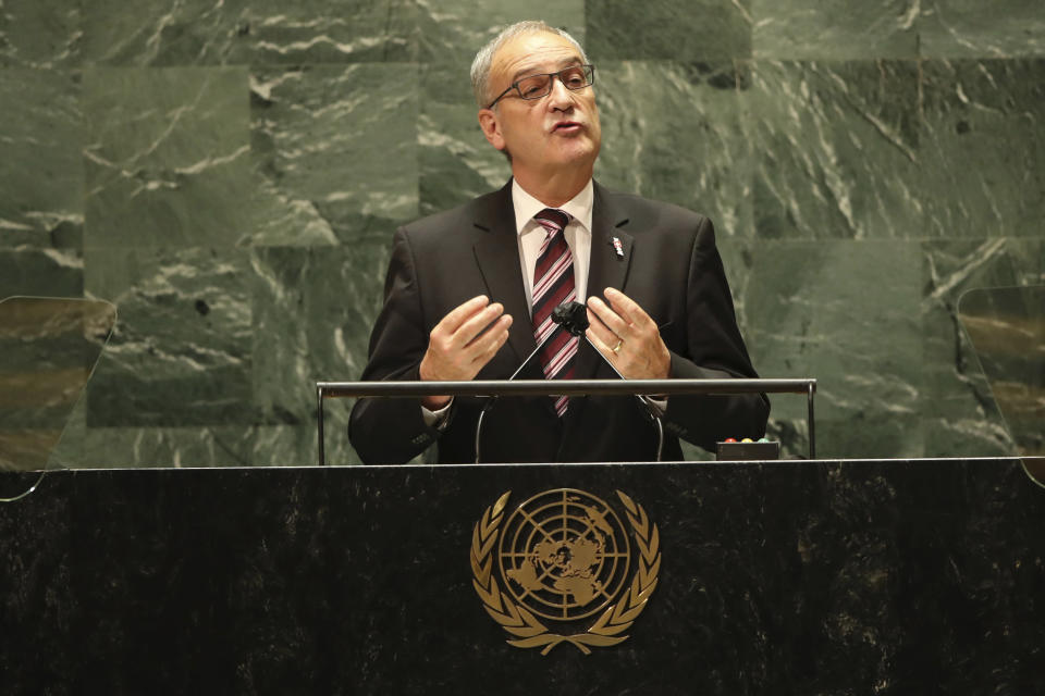 Swiss President Guy Parmelin addresses the 76th Session of the United Nations General Assembly, Tuesday, Sept. 21, 2021 at U.N. headquarters. (Spencer Platt/Pool Photo via AP)
