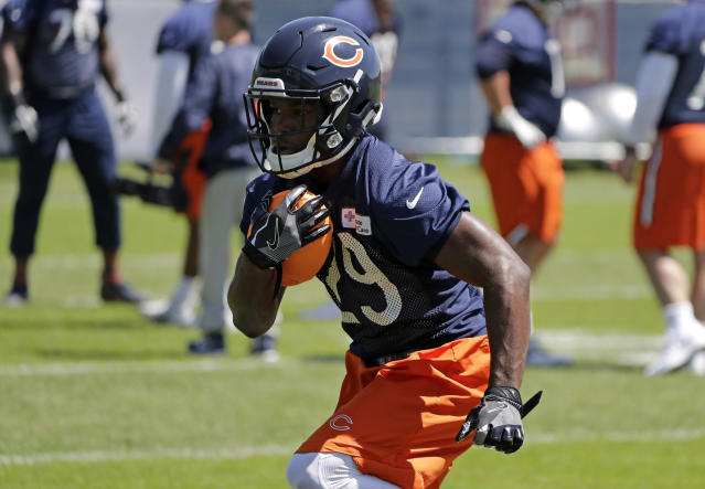 Chicago Bears RB Tarik Cohen surprised the students and staff of a North Carolina elementary school on Monday. (AP)