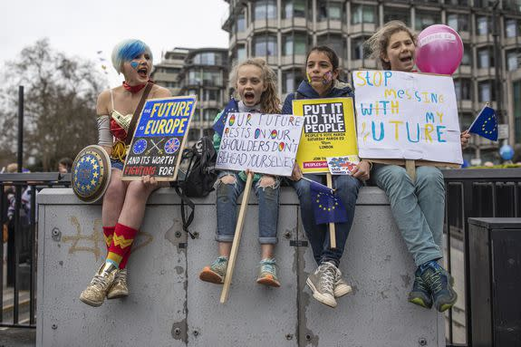 Even superheroes backed the second vote protest.