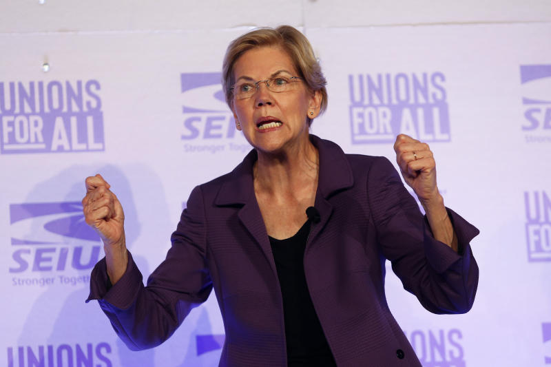 FILE - In this Oct. 4, 2019 file photo, Democratic presidential candidate Sen. Elizabeth Warren, D-Mass., speaks at the SEIU Unions For All Summit in Los Angeles. For 41 years, federal law has banned pregnancy discrimination in the workplace. But the stories tumbling out this week show it's far from eradicated. Prompted by Warren's claim that she was forced out of a teaching job in 1971 because she was pregnant, scores of women have shared similar stories on social media. Police officers, academics, fast food workers, lawyers, flight attendants and others say they hid pregnancies on the job or during interviews, faced demotion or demeaning comments and were even fired after revealing a pregnancy.(AP Photo/Ringo H.W. Chiu, File)