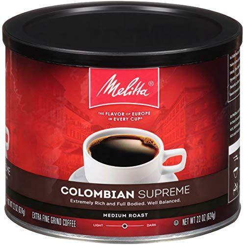 """<p><strong>Melitta</strong></p><p>amazon.com</p><p><strong>$7.98</strong></p><p><a href=""""https://www.amazon.com/dp/B008EL7MNU?tag=syn-yahoo-20&ascsubtag=%5Bartid%7C1782.g.33013485%5Bsrc%7Cyahoo-us"""" rel=""""nofollow noopener"""" target=""""_blank"""" data-ylk=""""slk:BUY NOW"""" class=""""link rapid-noclick-resp"""">BUY NOW</a></p><p>Rich without being overpowering, these Arabica grounds make for a perfectly balanced cup of medium roast coffee—great for a late afternoon pick-me-up. </p>"""