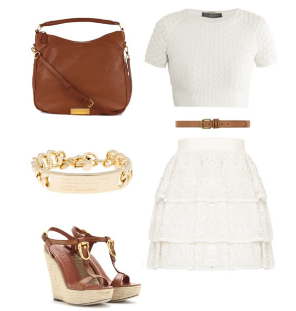 <b>Heritage appeal</b><br>Alexander McQueen top, Alice + Olivia skirt, Burberry shoes, Marc by Marc Jacobs bag and bracelet, belt via dorothyperkins.com<br>