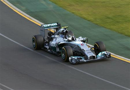 Mercedes Formula One driver Nico Rosberg of Germany drives during the Australian F1 Grand Prix at the Albert Park circuit in Melbourne March 16, 2014. REUTERS/Jason Reed