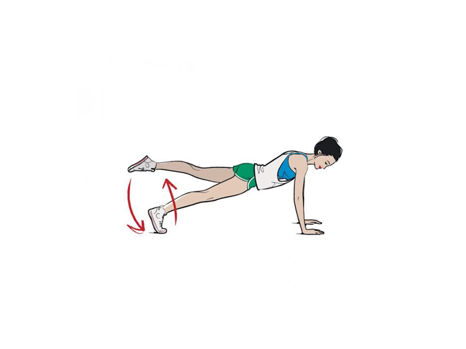 <p><strong>1/ </strong>Assume the plank position.</p><p><strong>2/ </strong>Lift one leg up and hold for 15 seconds. Place it down and lift the other leg for 15 seconds. Hold the plank with both legs on the floor for 30 seconds. That's one rep.</p>