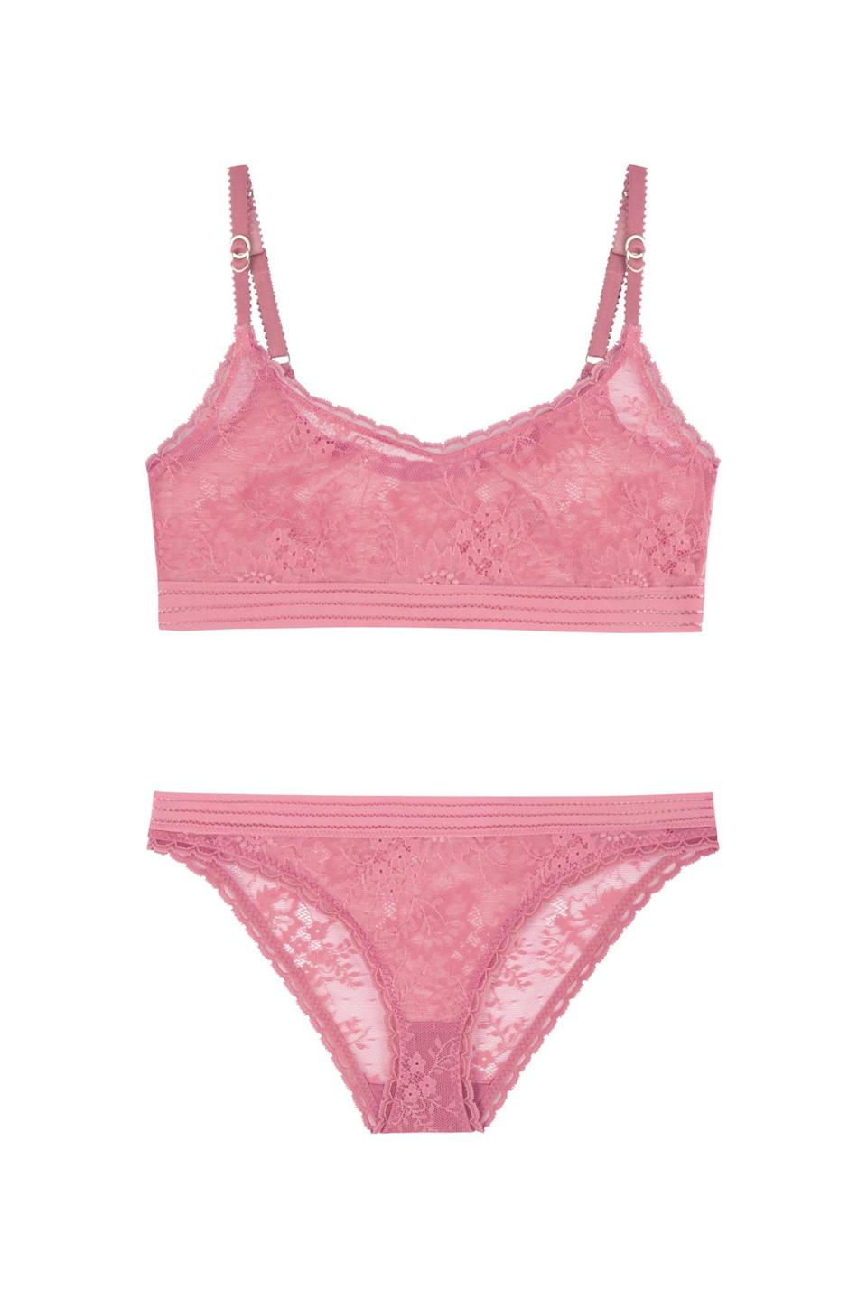 """<p>Stella Mccartney is making sure we all look pretty in pink this October by creating this beautiful pastel underwear set. A percentage of the proceeds will be going to a number of charities that help fight cancer. </p><p><i><a rel=""""nofollow noopener"""" href=""""http://www.stellamccartney.com/gb/stella-mccartney/bra_cod48176280vw.html#section=lingerie_bras"""" target=""""_blank"""" data-ylk=""""slk:[Stella McCartney, bra £25,"""" class=""""link rapid-noclick-resp"""">[Stella McCartney, bra £25,</a></i> <i><a rel=""""nofollow noopener"""" href=""""http://www.stellamccartney.com/gb/stella-mccartney/briefs_cod48176281td.html#section=lingerie_briefs"""" target=""""_blank"""" data-ylk=""""slk:briefs, £42]"""" class=""""link rapid-noclick-resp"""">briefs, £42]</a></i></p>"""