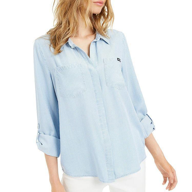 """<p><strong>Calvin Klein Jeans</strong></p><p>macys.com</p><p><strong>$69.50</strong></p><p><a href=""""https://go.redirectingat.com?id=74968X1596630&url=https%3A%2F%2Fwww.macys.com%2Fshop%2Fproduct%2Fcalvin-klein-jeans-split-back-chambray-shirt%3FID%3D10505723%26CategoryID%3D73310&sref=https%3A%2F%2Fwww.bestproducts.com%2Ffashion%2Fg2353%2Fchambray-shirts-blouses-for-women%2F"""" rel=""""nofollow noopener"""" target=""""_blank"""" data-ylk=""""slk:Shop Now"""" class=""""link rapid-noclick-resp"""">Shop Now</a></p><p>If oversized isn't your thing, opt for this denim shirt with a more tailored fit. Puffy sleeves give it a fashion-forward look, while a fitted waist still makes it feel slimming.</p>"""