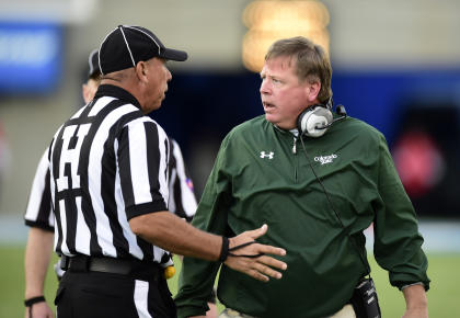 Jim McElwain argues an interference penalty in the fourth quarter against Air Force. (USA TODAY Sports)