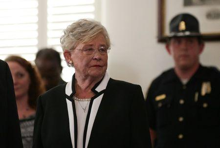 Lt Governor Kay Ivey waits to be sworn in shortly after Alabama Governor Robert Bentley announced his resignation amid impeachment proceedings on accusations stemming from his relationship with a former aide in Montgomery