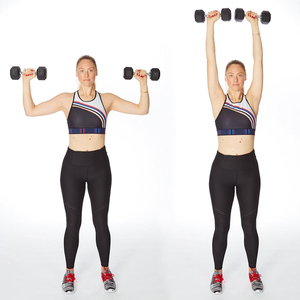 """<p>This dumbbell arm workout for women will build muscle in your shoulders but, since you're standing, also recruit your core. Bonus: Try doing one arm at a time to challenge your abs even more. (See more tips here: <a href=""""https://www.shape.com/fitness/videos/how-to-do-perfect-dumbbell-overhead-press"""" target=""""_blank"""">How to Get Skinny Arms By Executing the Perfect Dumbell Overhead Press</a>)</p> <ul><li>Stand with feet wide, knees soft, holding dumbbells with arms in a goal post position (elbows open to sides at shoulder level).</li> <li>Brace core and extend arms straight overhead.</li> <li>Slowly lower elbows to return to start. Do 20 reps.</li> </ul><p><strong>Do 20 reps.</strong></p>"""
