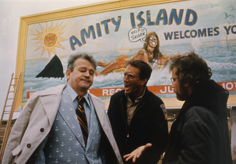 American actors Murray Hamilton, Roy Scheider, and Richard Dreyfuss on the set of Jaws, directed by Steven Spielberg. (Photo by Sunset Boulevard/Corbis via Getty Images)