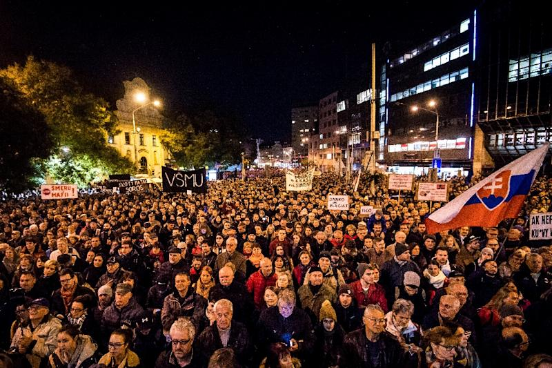 Mass protests after the assassination last year of Slovak journalist Jan Kuciak forced Robert Fico to resign as prime minister, but he still leads the ruling Smer-SD party (AFP Photo/VLADIMIR SIMICEK)