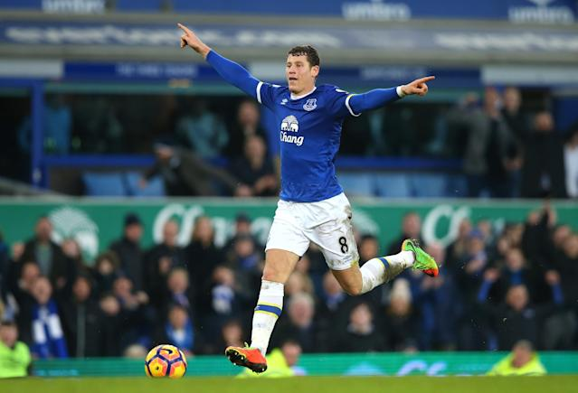 <p>Ross Barkley celebrates scoring against Bournemouth before the ball hits the back of the net </p>