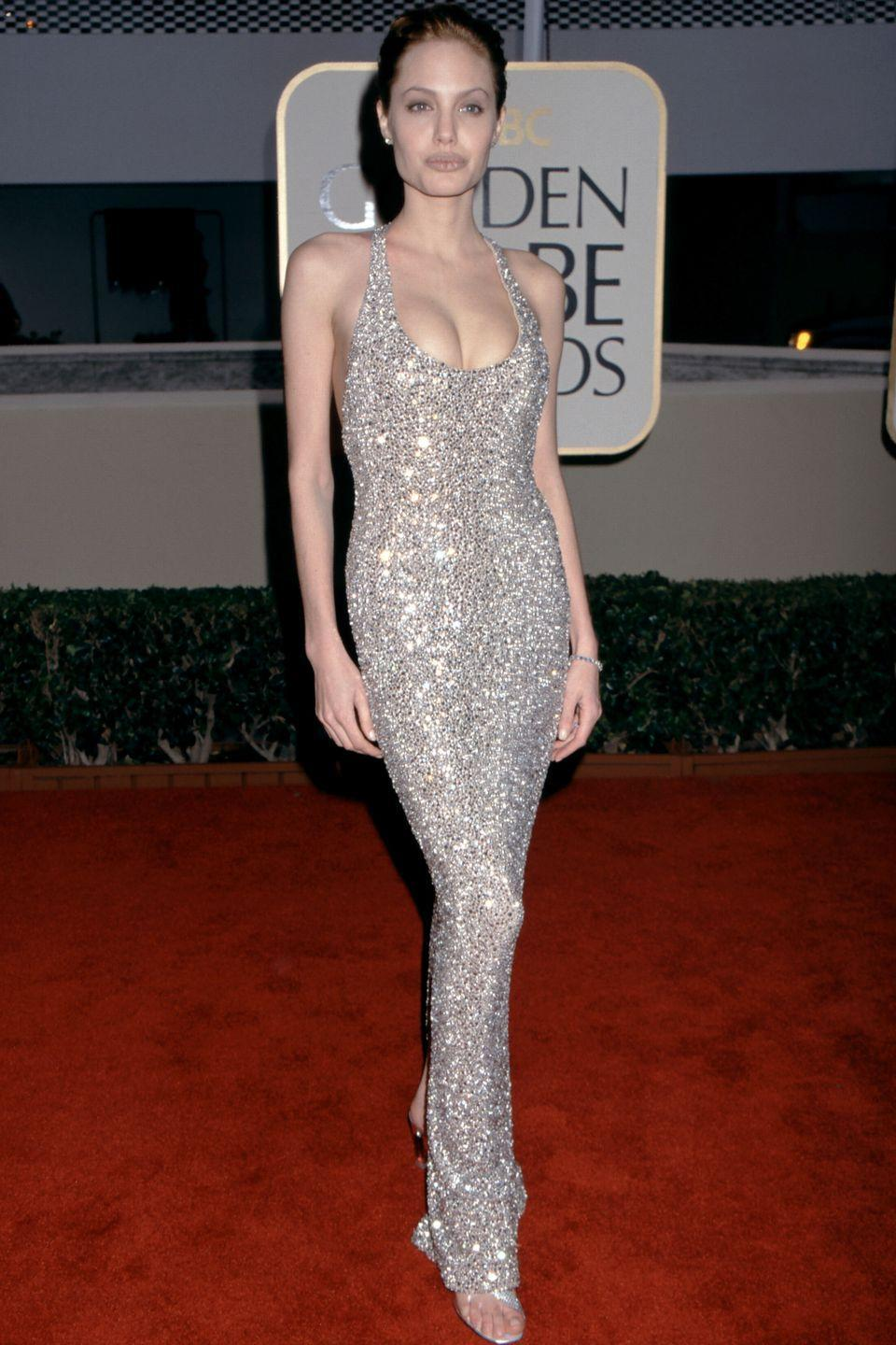 <p>The daring actress stunned in a body-hugging Randolph Duke grown for the 1999 ceremony. </p>