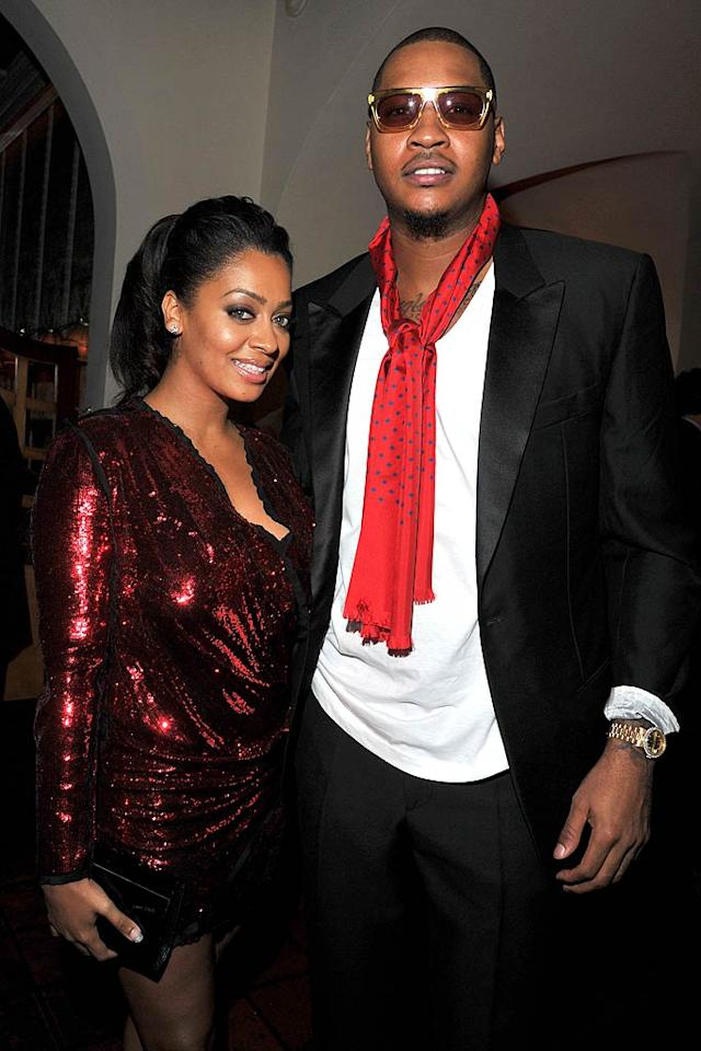 Cool couple La La Vasquez and Carmelo Anthony got all gussied up for the party. (11/17/2011)