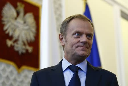 Poland's Prime Minister Donald Tusk attends the weekly government meeting at the Prime Minister's Chancellery in Warsaw