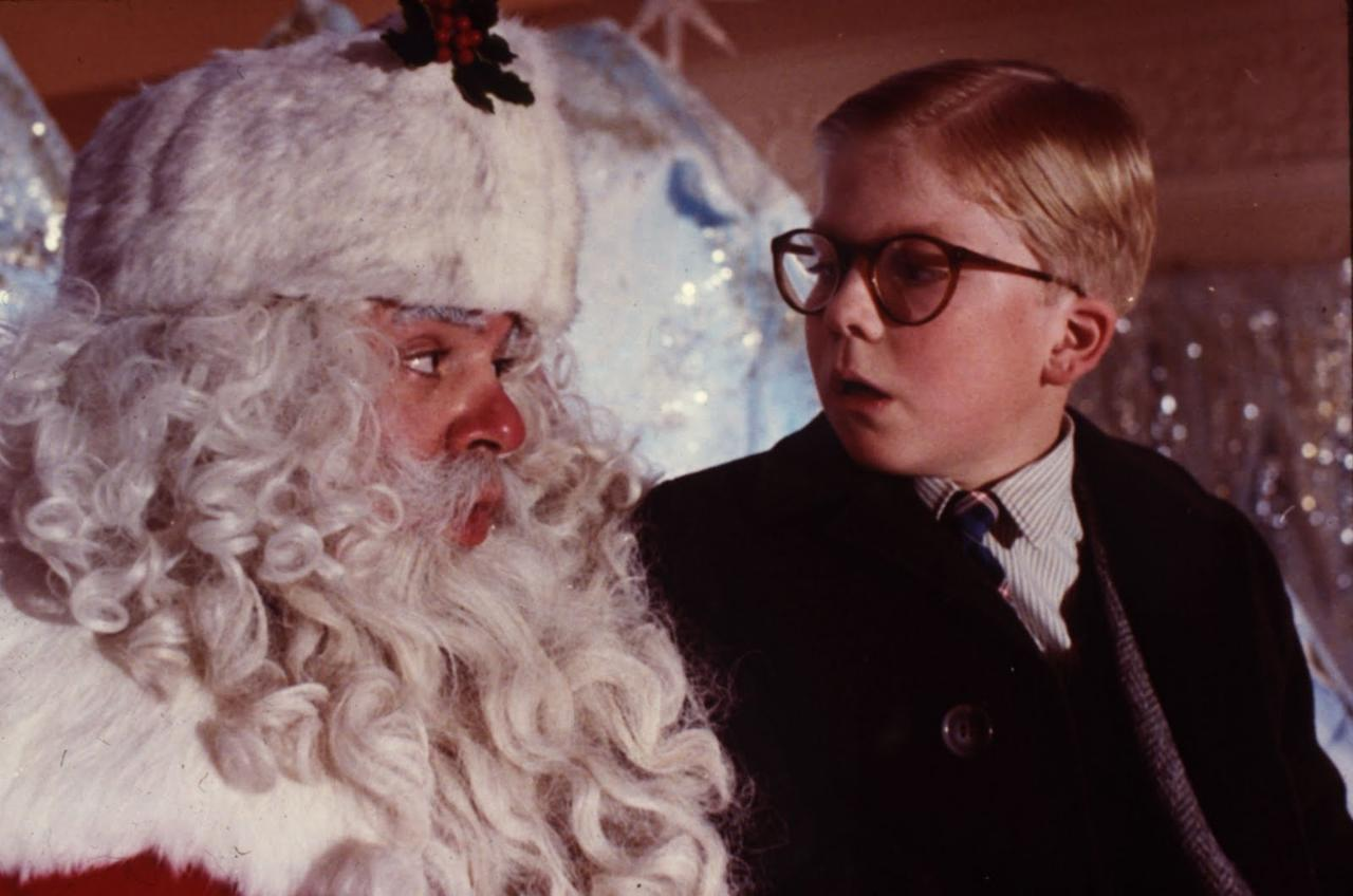 """'A Christmas Story' – Much like """"Christmas Vacation,"""" frequent TV broadcasts of """"A Christmas Story"""" over the years (sometimes in 24 hour marathons!) have helped turn the 1983 holiday comedy into a cult classic. Based on the childhood stories of raconteur Jean Shepherd, the film follows young Ralphie Parker (Peter Billingsley), a kid who only wants one thing for Christmas: a Red Ryder BB Gun. In the lead up to the holiday, Ralphie has to deal with his stern father, his annoying little brother, his doting mother, big bullies, surly Santas, and more! Set in the 1950s and told from Ralphie's perspective, """"A Christmas Story"""" is a nice reminder of a simpler and more innocent time in life."""