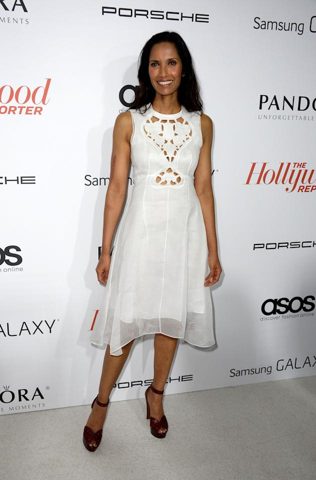 WEST HOLLYWOOD, CA - SEPTEMBER 19:Television personality Padma Lakshmi arrives at The Hollywood Reporter's Emmy Party at Soho House on September 19, 2013 in West Hollywood, California. (Photo by Frazer Harrison/Getty Images)