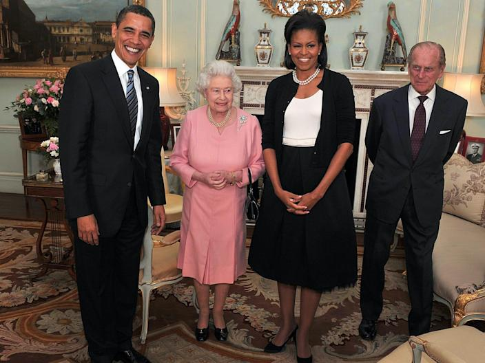 Queen Elizabeth and Prince Philip meet President Barack Obama and first lady Michelle Obama