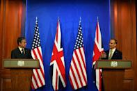 US Secretary of State Antony Blinken attends a press conference with Britain's Foreign Secretary Dominic Raab as they open Group of Seven talks in London