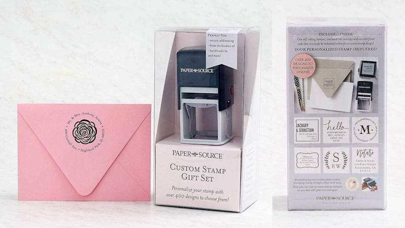Best personalized gifts 2019: Paper Source Custom Stamp Gift Set