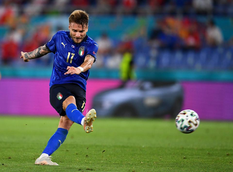 Ciro Immobile of Italy scores a third for Italy (Getty)