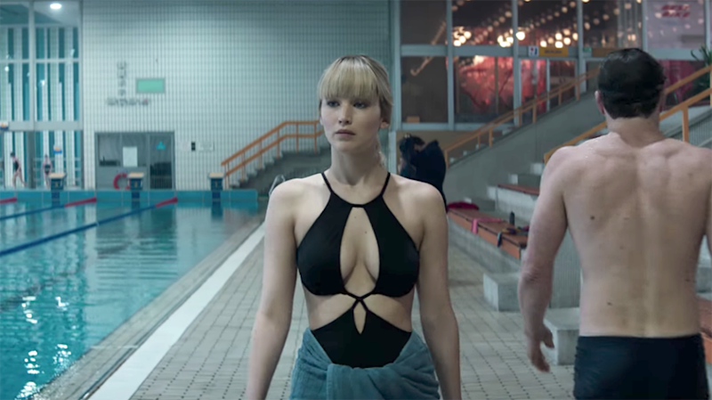 The 'Hunger Games' actress wears cut-out black swimsuit in one scene. Source: 20th Century Fox