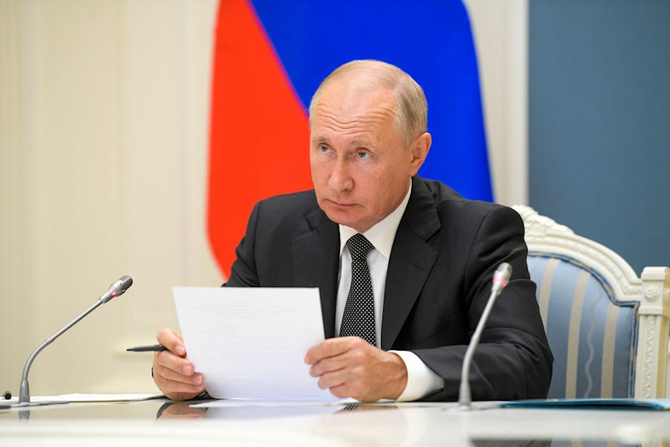 Russia's President Vladimir Putin attends via video link the inauguration ceremonies for new medical centres built by Russia's Defence Ministry in Dagestan, Voronezh Region, and Penza Region.