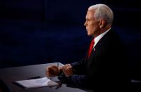 Democratic vice presidential nominee Senator Kamala Harris and U.S. Vice President Mike Pence participate in their 2020 vice presidential campaign debate in Salt Lake City