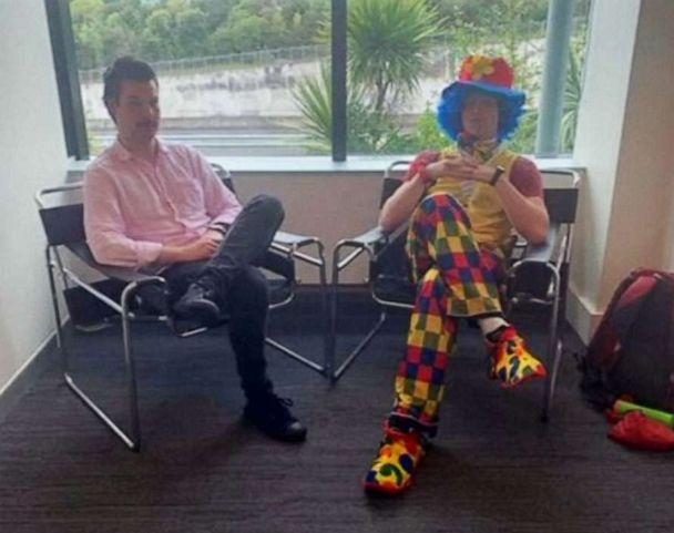 PHOTO: Advertising copywriter Josh Thompson brought a clown to a redundancy meeting for emotional support when he was laid off by FCB New Zealand in Auckland, New Zealand. (Sickaslegendmaddog/Facebook via Reuters)