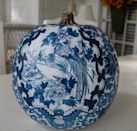 "<p>This insanely beautiful pumpkin is a refreshing change of pace from all of the black- and orange-themed decor. <a href=""https://www.etsy.com/listing/225994325/china-blue-digital-papers-china-blue?ga_order=most_relevant&ga_search_type=all&ga_view_type=gallery&ga_search_query=blue%20pattern%20china&ref=sr_gallery_11"" rel=""nofollow noopener"" target=""_blank"" data-ylk=""slk:Digital paper"" class=""link rapid-noclick-resp"">Digital paper</a> found on Etsy or old wallpaper scraps are great for decoupaging projects. <i>(Photo: <a href=""http://betweennapsontheporch.net/what-to-do-with-those-left-over-pumpkins-gourds/"" rel=""nofollow noopener"" target=""_blank"" data-ylk=""slk:betweennapsontheporch"" class=""link rapid-noclick-resp"">betweennapsontheporch</a>)</i></p>"