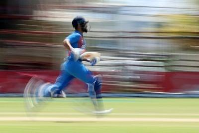 """<div class=""""paragraphs""""><p>Guyana: Indian skipper Virat Kohli in action during the third T20 international between India and West Indies at Providence Stadium in Guyana on Aug 6, 2019. </p></div>"""