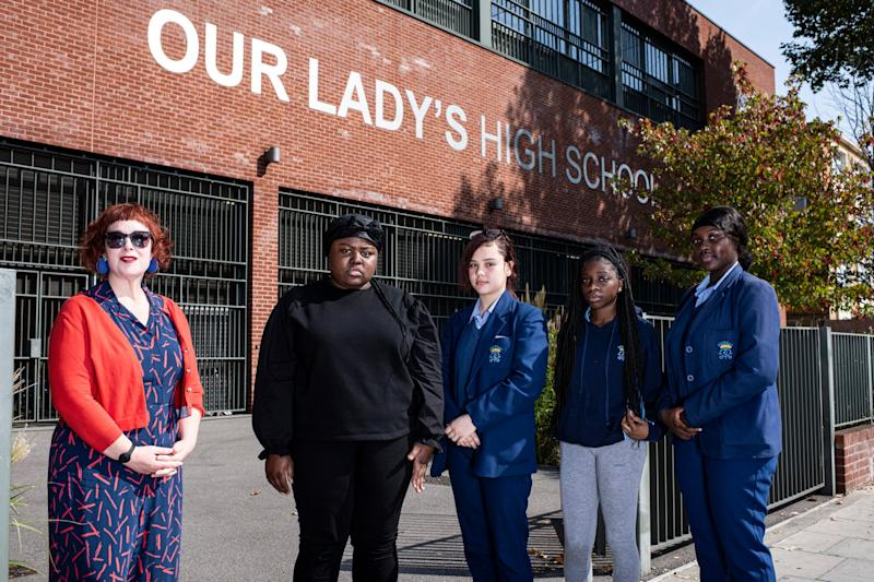 Message of hope: headteacher Justine McDonald with pupils from Our Lady's Catholic High School, Hackney (Daniel Hambury)