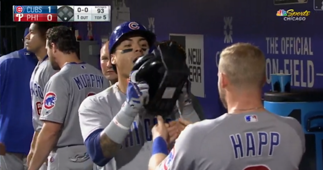 Javy Baez celebrates his 29th homer of the year with a waffle iron. (MLB)