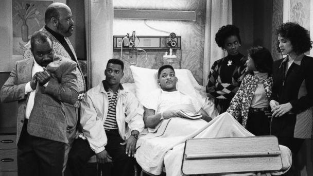 PHOTO: From the left, Joseph Marcell as Geoffrey, James Avery as Philip Banks, Alfonso Ribeiro as Carlton Banks, Will Smith as William 'Will' Smith, Janet Hubert as Vivian Banks, Tatyana Ali as Ashley Banks, Karyn Parsons in 'The Fresh Prince of Bel-Air.' (Getty Images)
