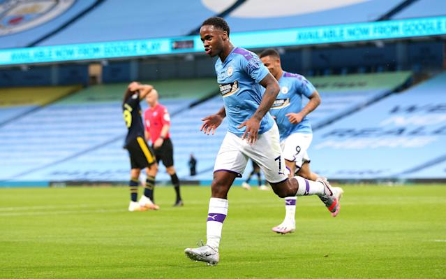 Manchester City's Raheem Sterling scored the first Premier League goal since March in Wednesday's 3-0 rout of Arsenal. (Matt McNulty/Getty Images)