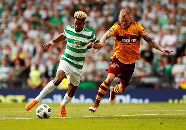 Soccer Football - Scottish Cup Final - Celtic vs Motherwell - Hampden Park, Glasgow, Britain - May 19, 2018 Celtic's Scott Sinclair in action with Motherwell's Richard Tait Action Images via Reuters/Jason Cairnduff
