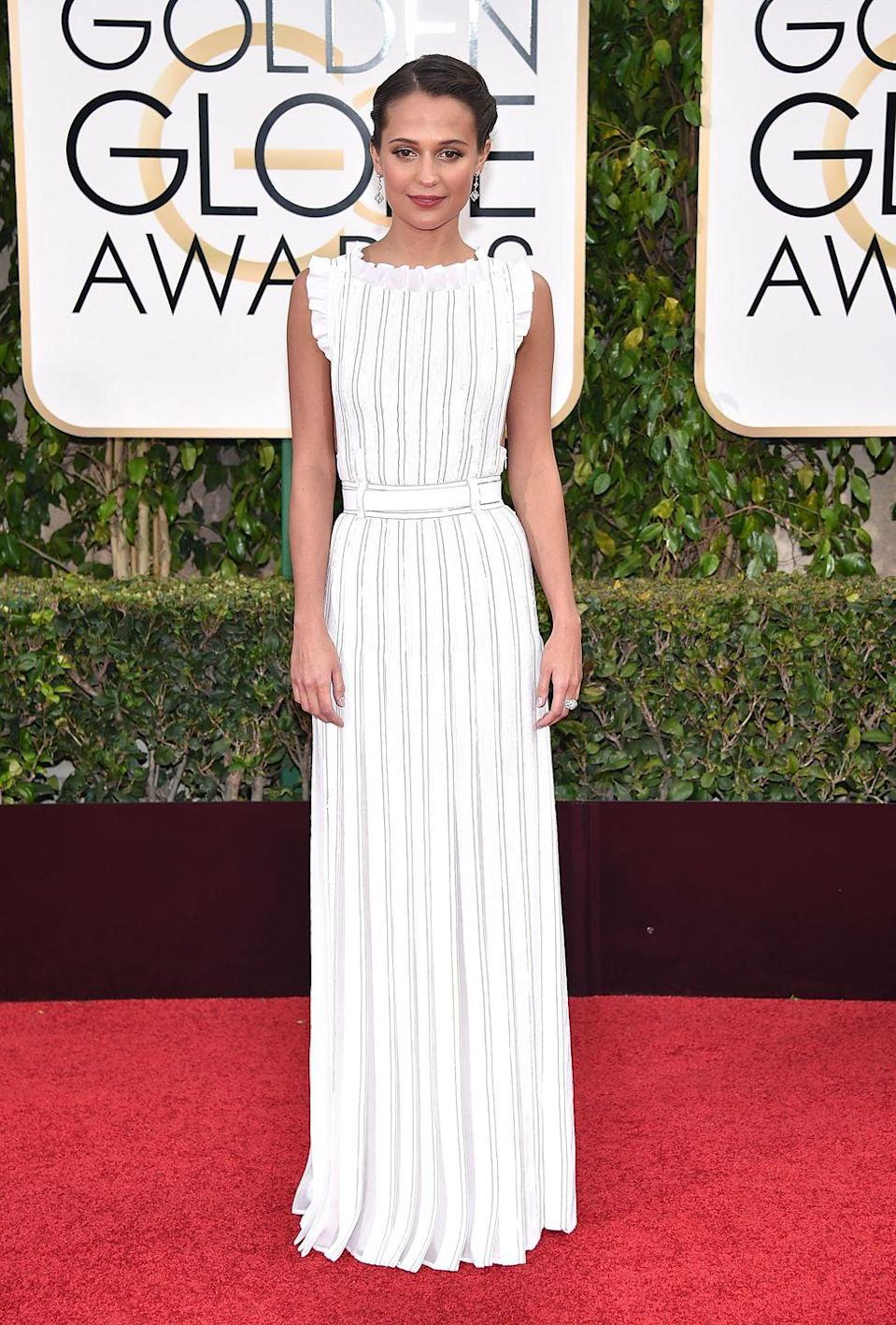 <p>Alicia Vikander was the one to beat in 2016, wearing this striped Louis Vuitton number. </p>