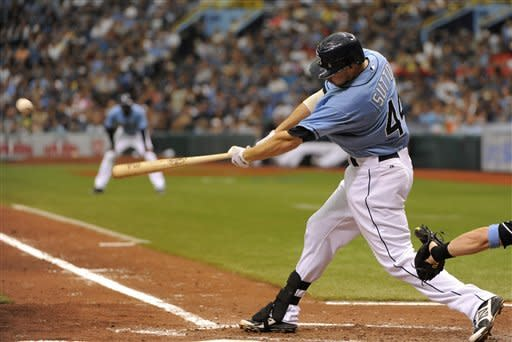 Tampa Bay Rays' Drew Sutton hits a one-run single off of Miami Marlins starting pitcher Josh Johnson to score Elliot Johnson during the sixth inning of an interleague baseball game on Sunday, June 17, 2012, in St. Petersburg, Fla. (AP Photo/Brian Blanco)
