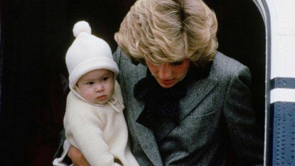 PHOTO: Diana, Princess of Wales carries her son, Prince Harry, off a flight at Aberdeen Airport, Scotland. (Tim Graham Photo Library via Getty Images)