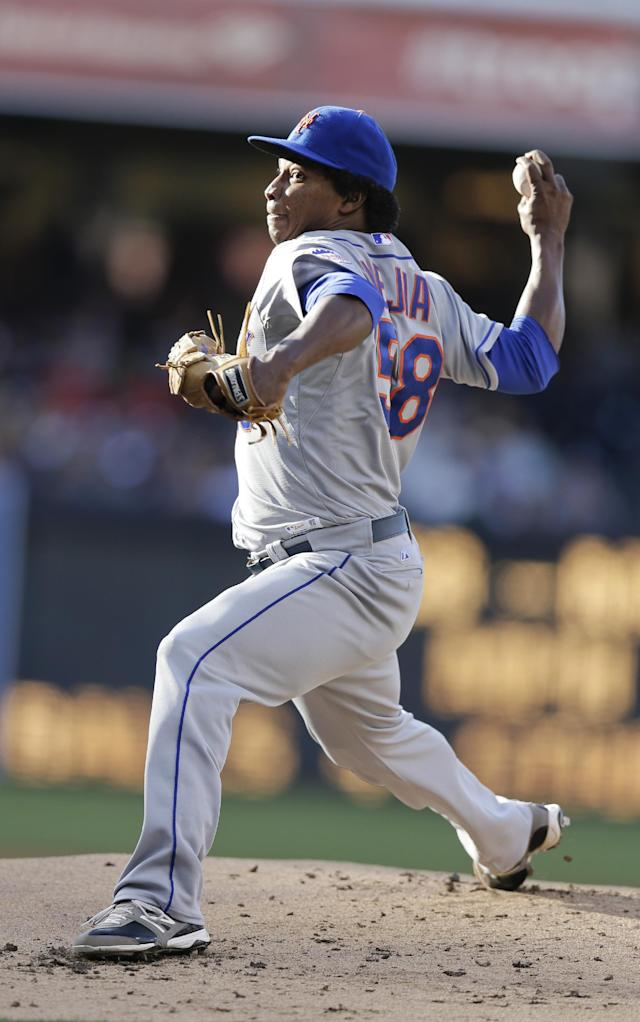 New York Mets starting pitcher Jenrry Mejia throws against the San Diego Padres during the first inning in a baseball game on 2Saturday, Aug. 17, 2013, in San Diego. (AP Photo/Gregory Bull)