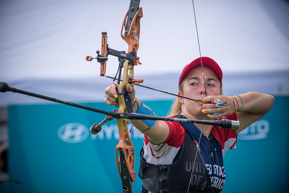 PARIS, FRANCE - JUNE 19: In this handout image provided by the World Archery Federation, Casey Kaufhold of USA during the recurve women's team final at the final qualifier for the Tokyo 2020 Olympic Games in Paris, France. (Photo by Dean Alberga/Handout/World Archery Federation via Getty Images )