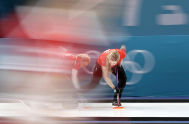 <p>Britain's Lauren Gray, right, sweeps ice with teammate Anna Sloan during their women's curling match against United States at the 2018 Winter Olympics in Gangneung, South Korea, Thursday, Feb. 15, 2018. (AP Photo/Aaron Favila) </p>