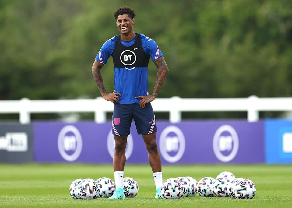 MIDDLESBROUGH, ENGLAND - JUNE 03: Marcus Rashford of England reacts during the England training session on June 03, 2021 in Middlesbrough, England. (Photo by Eddie Keogh - The FA/The FA via Getty Images)