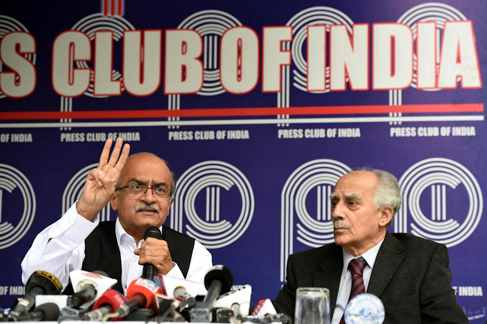 Noted lawyer Prashant Bhushan and former Union Minister Arun Shourie (Photo by Sonu Mehta/Hindustan Times via Getty Images)