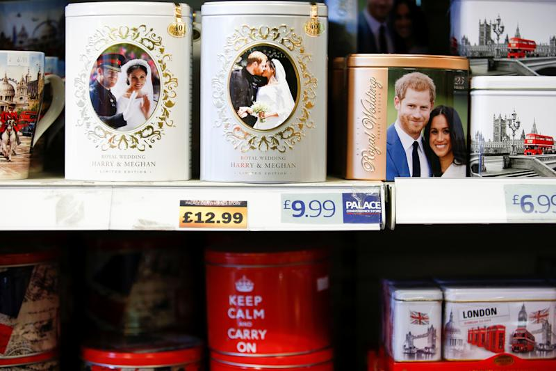 Merchandise depicting Britain's Prince Harry and Meghan, Duchess of Sussex, are seen on display in a souvenir shop near Buckingham Palace in London, Britain, January 19, 2020. REUTERS/Henry Nicholls