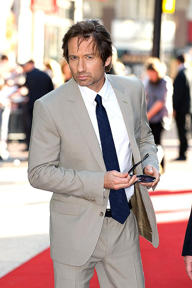 "Apparently David Duchovny didn't bother to do his hair or shave before the ""X-Files"" movie premiere in London. Mike Marsland/<a href=""http://www.wireimage.com"" target=""new"">WireImage.com</a> - July 30, 2008"
