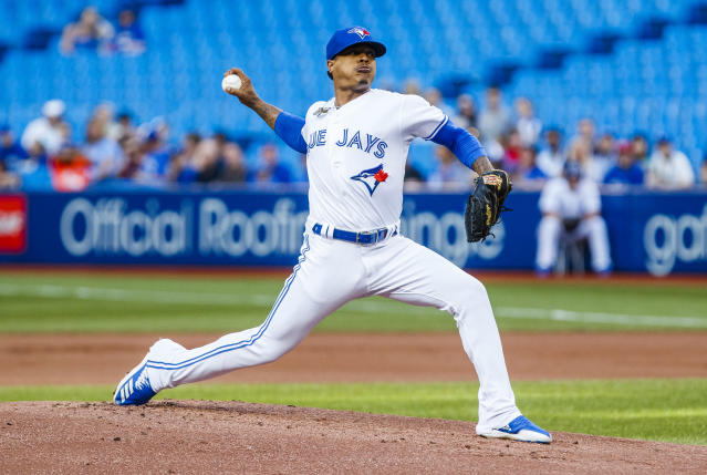TORONTO, ONTARIO - JULY 24: Marcus Stroman #6 of the Toronto Blue Jays pitches to the Cleveland Indians in the first inning during their MLB game at the Rogers Centre on July 24, 2019 in Toronto, Canada. (Photo by Mark Blinch/Getty Images)